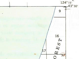Reduced fragment of topographic map en--usgs--063k--053899--(1944)--N043-30_W124-30--N043-15_W124-15; towns and cities Barview