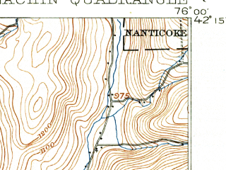 Reduced fragment of topographic map en--usgs--063k--053907--(1901)--N042-15_W076-15--N042-00_W076-00; towns and cities Endicott, Endwell, Newark Valley, Apalachin