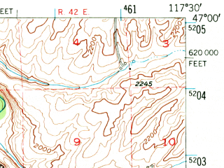 Reduced fragment of topographic map en--usgs--063k--053908--(1950)--N047-00_W117-45--N046-45_W117-30; towns and cities Endicott