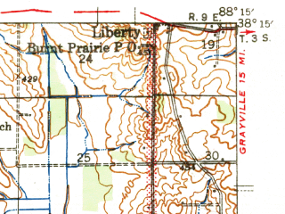 Reduced fragment of topographic map en--usgs--063k--053910--(1944)--N038-15_W088-30--N038-00_W088-15; towns and cities Enfield, Springerton