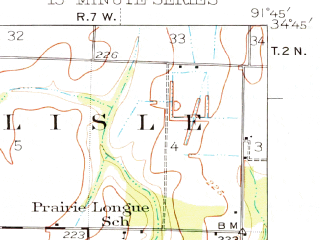 Reduced fragment of topographic map en--usgs--063k--053915--(1937)--N034-45_W092-00--N034-30_W091-45; towns and cities Allport, Coy, England