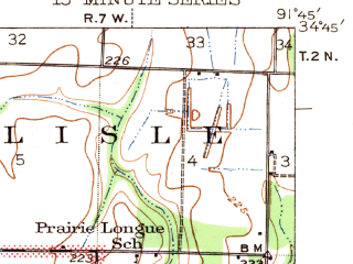 Reduced fragment of topographic map en--usgs--063k--053915--(1943)--N034-45_W092-00--N034-30_W091-45; towns and cities England, Humnoke, Allport