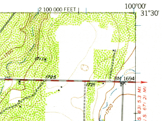 Reduced fragment of topographic map en--usgs--063k--053931--(1957)--N031-30_W100-15--N031-15_W100-00