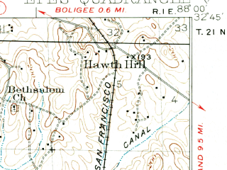 Reduced fragment of topographic map en--usgs--063k--053932--(1932)--N032-45_W088-15--N032-30_W088-00; towns and cities Epes, Livingston