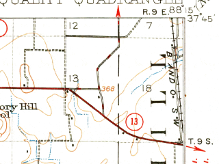 Reduced fragment of topographic map en--usgs--063k--053936--(1916)--N037-45_W088-30--N037-30_W088-15; towns and cities Equality