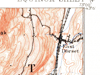 Reduced fragment of topographic map en--usgs--063k--053937--(1894)--N043-15_W073-15--N043-00_W073-00; towns and cities Arlington, Manchester, Manchester Center