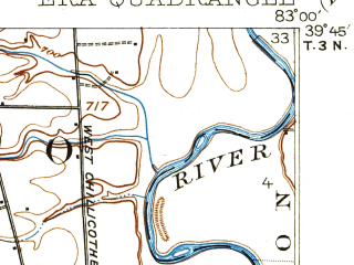 Reduced fragment of topographic map en--usgs--063k--053939--(1913)--N039-45_W083-15--N039-30_W083-00; towns and cities Williamsport, Clarksburg, Darbyville