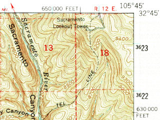 Reduced fragment of topographic map en--usgs--063k--053952--(1950)--N032-45_W106-00--N032-30_W105-45