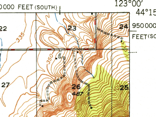 Reduced fragment of topographic map en--usgs--063k--053970--(1949)--N044-15_W123-15--N044-00_W123-00; towns and cities Eugene, Santa Clara, North Springfield, River Road, Coburg