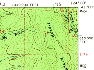 Reduced fragment of topographic map en--usgs--063k--053976--(1959)--N041-00_W124-15--N040-45_W124-00; towns and cities Eureka, Arcata, Mckinleyville, Bayview, Cutten