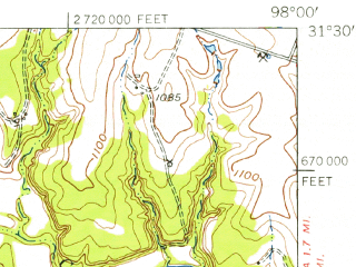 Reduced fragment of topographic map en--usgs--063k--053985--(1954)--N031-30_W098-15--N031-15_W098-00; towns and cities Evant