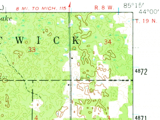 Reduced fragment of topographic map en--usgs--063k--053986--(1959)--N044-00_W085-30--N043-45_W085-15; towns and cities Hersey, Evart