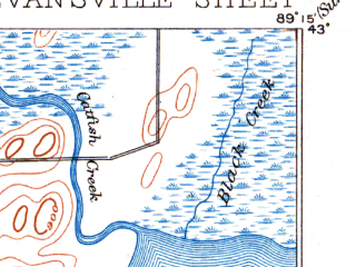 Reduced fragment of topographic map en--usgs--063k--053989--(1894)--N043-00_W089-30--N042-45_W089-15; towns and cities Fitchburg, Evansville, Oregon, Brooklyn
