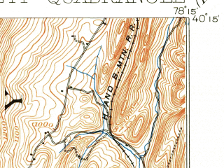 Reduced fragment of topographic map en--usgs--063k--053990--(1900)--N040-15_W078-30--N040-00_W078-15; towns and cities Everett, Hopewell, Woodbury