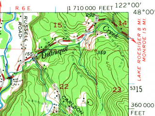 Reduced fragment of topographic map en--usgs--063k--053993--(1953)--N048-00_W122-15--N047-45_W122-00; towns and cities Everett, Alderwood Manor-bothell North, North Creek, Silver Lake-fircrest, West Lake Stevens