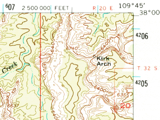 Reduced fragment of topographic map en--usgs--063k--053999--(1954)--N038-00_W110-00--N037-45_W109-45