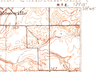 Reduced fragment of topographic map en--usgs--063k--054003--(1902)--N038-45_W121-30--N038-30_W121-15; towns and cities Sacramento, Citrus Heights, Arden Town, Rancho Cordova, Rosemont