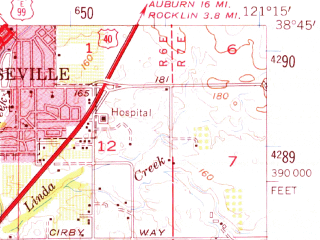 Reduced fragment of topographic map en--usgs--063k--054003--(1954)--N038-45_W121-30--N038-30_W121-15; towns and cities Sacramento, Citrus Heights, Arden Town, Carmichael, North Highlands