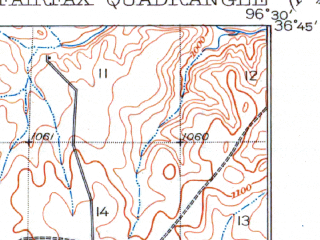 Reduced fragment of topographic map en--usgs--063k--054029--(1932)--N036-45_W096-45--N036-30_W096-30; towns and cities Burbank, Fairfax, Ralston