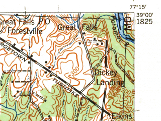 Reduced fragment of topographic map en--usgs--063k--054031--(1944)--N039-00_W077-30--N038-45_W077-15; towns and cities Burke, Reston, Oakton, Centreville, Fairfax
