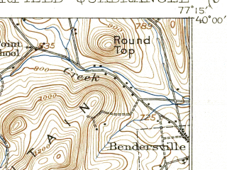 Reduced fragment of topographic map en--usgs--063k--054036--(1909)--N040-00_W077-30--N039-45_W077-15; towns and cities Arendtsville, Fairfield