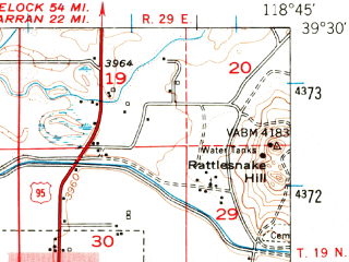 Reduced fragment of topographic map en--usgs--063k--054065--(1951)--N039-30_W119-00--N039-15_W118-45 in area of Sheckler Reservoir; towns and cities Fallon