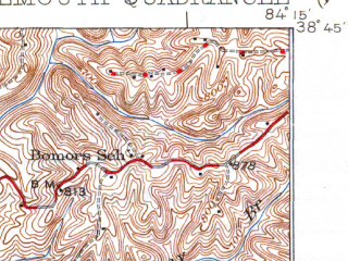 Reduced fragment of topographic map en--usgs--063k--054067--(1936)--N038-45_W084-30--N038-30_W084-15; towns and cities Berry, Falmouth