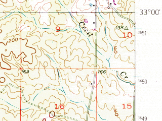 Reduced fragment of topographic map en--usgs--063k--054089--(1952)--N033-00_W092-30--N032-45_W092-15; towns and cities Farmerville