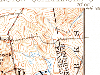 Reduced fragment of topographic map en--usgs--063k--054090--(1924)--N044-45_W070-15--N044-30_W070-00 in area of Clearwater Pond; towns and cities Farmington, Wilton