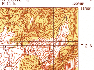 Reduced fragment of topographic map en--usgs--063k--054092--(1942)--N038-00_W121-00--N037-45_W120-45 in area of Woodward Reservoir; towns and cities Oakdale, Escalon