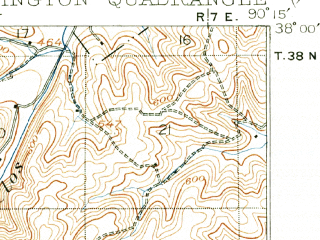 Reduced fragment of topographic map en--usgs--063k--054093--(1904)--N038-00_W090-30--N037-45_W090-15; towns and cities Farmington, Esther, Leadington