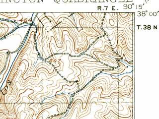 Reduced fragment of topographic map en--usgs--063k--054093--(1906)--N038-00_W090-30--N037-45_W090-15; towns and cities Farmington, Esther, Leadington