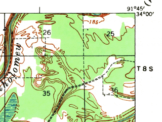 Reduced fragment of topographic map en--usgs--063k--054108--(1935)--N034-00_W092-00--N033-45_W091-45; towns and cities Star City