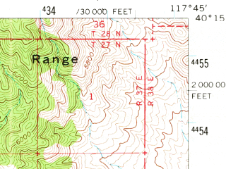 Reduced fragment of topographic map en--usgs--063k--054115--(1961)--N040-15_W118-00--N040-00_W117-45