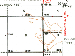 Reduced fragment of topographic map en--usgs--063k--054127--(1948)--N047-45_W099-45--N047-30_W099-30; towns and cities Fessenden