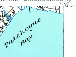 Reduced fragment of topographic map en--usgs--063k--054139--(1902)--N040-45_W073-15--N040-30_W073-00; towns and cities Bay Shore, East Islip, Islip, Sayville, Bayport