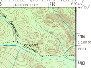 Reduced fragment of topographic map en--usgs--063k--054146--(1931)--N047-00_W069-00--N046-45_W068-45 in area of Fish Lake