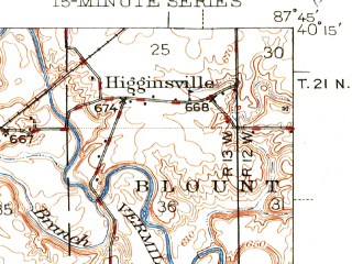 Reduced fragment of topographic map en--usgs--063k--054152--(1943)--N040-15_W088-00--N040-00_W087-45; towns and cities Ogden, Royal, Fairmount