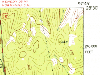 Reduced fragment of topographic map en--usgs--063k--054184--(1954)--N028-30_W098-00--N028-15_W097-45