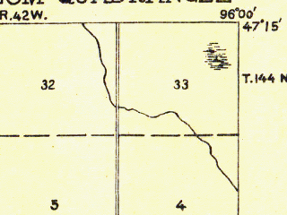 Reduced fragment of topographic map en--usgs--063k--054191--(1918)--N047-15_W096-15--N047-00_W096-00