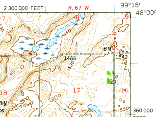 Reduced fragment of topographic map en--usgs--063k--054195--(1951)--N048-00_W099-30--N047-45_W099-15