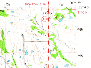 Reduced fragment of topographic map en--usgs--063k--054196--(1962)--N032-45_W090-30--N032-30_W090-15; towns and cities Bentonia, Flora