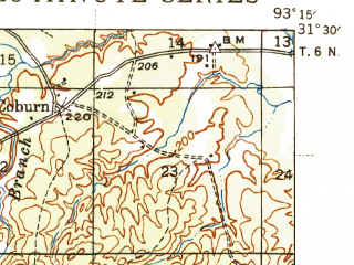 Reduced fragment of topographic map en--usgs--063k--054198--(1944)--N031-30_W093-30--N031-15_W093-15; towns and cities Anacoco, Fisher, Florien