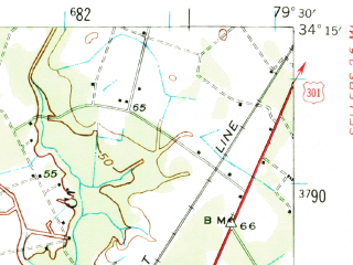 Reduced fragment of topographic map en--usgs--063k--054203--(1940)--N034-15_W079-45--N034-00_W079-30; towns and cities Quinby