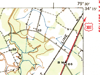 Reduced fragment of topographic map en--usgs--063k--054203--(1945)--N034-15_W079-45--N034-00_W079-30; towns and cities Quinby