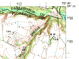 Reduced fragment of topographic map en--usgs--063k--054204--(1940)--N034-15_W080-00--N034-00_W079-45; towns and cities Florence, Timmonsville
