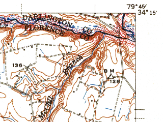 Reduced fragment of topographic map en--usgs--063k--054204--(1945)--N034-15_W080-00--N034-00_W079-45; towns and cities Florence, Timmonsville