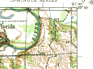 Reduced fragment of topographic map en--usgs--063k--054207--(1945)--N039-30_W092-00--N039-15_W091-45; towns and cities Florida