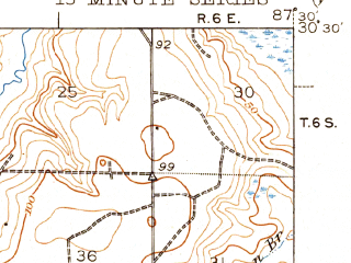 Reduced fragment of topographic map en--usgs--063k--054217--(1943)--N030-30_W087-45--N030-15_W087-30; towns and cities Elberta, Foley, Gulf Shores