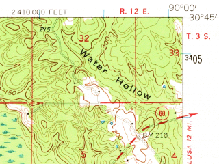 Reduced fragment of topographic map en--usgs--063k--054222--(1954)--N030-45_W090-15--N030-30_W090-00; towns and cities Folsom